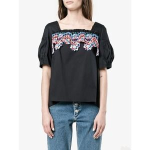 NWT Peter Pilotto Navy Cotton Lace Top 8 MSRP $425